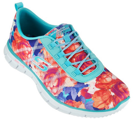 Skechers Floral Stretch-fit Bungee Sneakers - Glider Posies