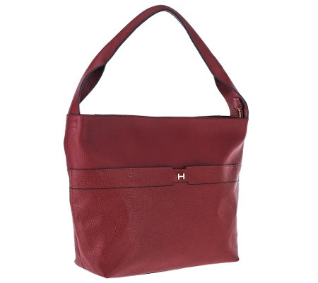 """As Is"" H by Halston Pebble & Saffiano Leather Hobo Handbag"