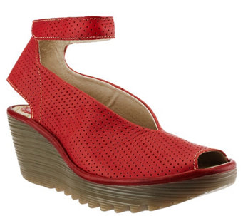 """As Is"" FLY London Perforated Wedge Sandals - Yala Perf - A278754"