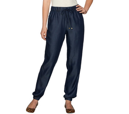 Issac Mizrahi Live! TRUE DENIM Drawstring Jogger Pants
