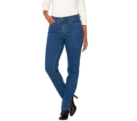 """As Is"" Denim & Co. ""How Slimming"" Petite Denim Straight Jeans"