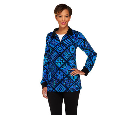 """As Is"" Bob Mackie's Tile Print Fleece Pullover"