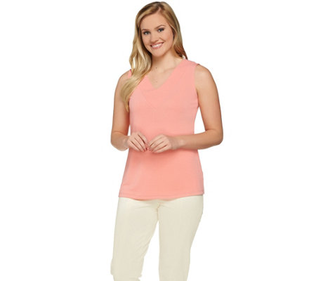 """As Is"" Susan Graver Passport Knit V-neck Sleeveless Tank"