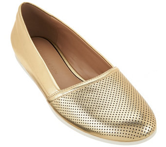 """As Is"" H by Halston Perforated Leather Slip-On Shoes - Leah - A283954"