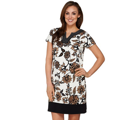 """As Is"" Susan Graver Weekend Printed French Terry Short Sleeve Dress"