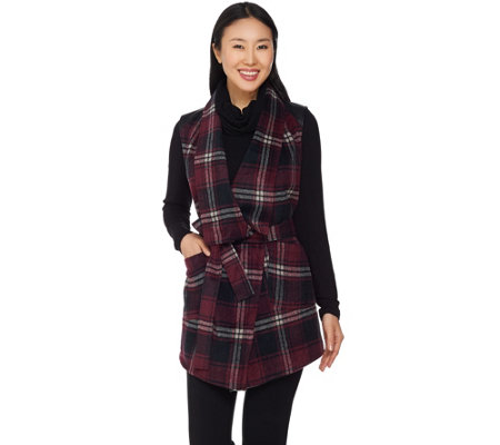 Lisa Rinna Collection Plaid Vest with Faux Leather Detail