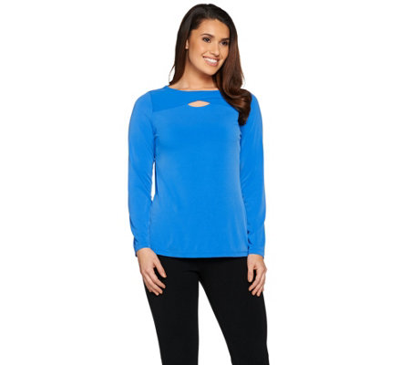Susan Graver Liquid Knit Top with Crossover Keyhole