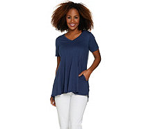 LOGO by Lori Goldstein Cotton Modal Knit Top with Seam Details - A286954