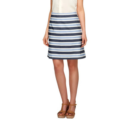 """As Is"" Liz Claiborne New York Stripe Printed Pull-on Skort"
