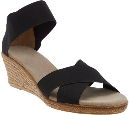 Charleston Shoe Co. Stretch Wedge Sandals - Cannon