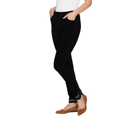 """As Is"" Quacker Factory DreamJeannes Jeweled Curved Hem Legging"
