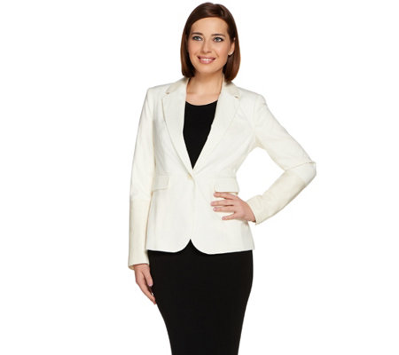 """As Is"" G.I.L.I. Faux Leather Trim Blazer"