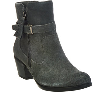"""As Is"" Earth Origins Suede Water Repellent Ankle Boots - Tori - A292554"