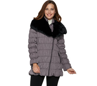 """As Is"" Dennis Basso Ruched Jacket with Detachable Faux Fur Collar - A293354"