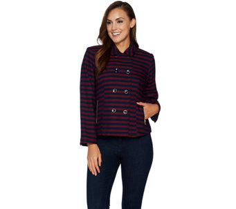 Isaac Mizrahi Live! Striped Double Breasted Jacket - A294254