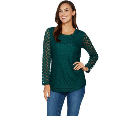 Isaac Mizrahi Live! Stretch Lace Scoop Neck Tunic