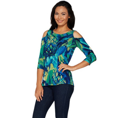 Susan Graver Printed Liquid Knit Cold Shoulder Scoop Neck Top