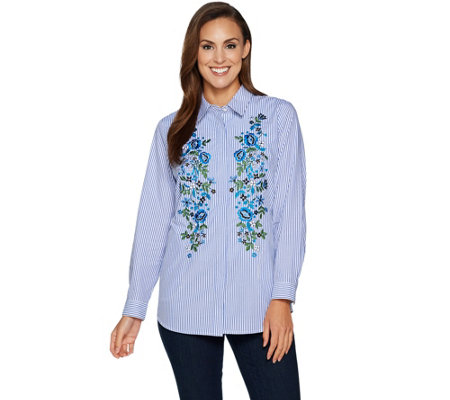 Joan Rivers Striped Shirt With Floral Embroidery