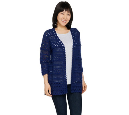 """As Is"" Isaac Mizrahi Live! Hand Crochet Open Front Cardigan"