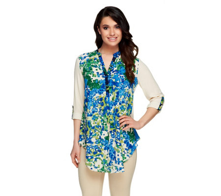 """As Is"" Kelly by Clinton Kelly Floral Hi-Low Hem Blouse"