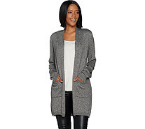 Lisa Rinna Collection Marled Open Front Cardigan - A299554