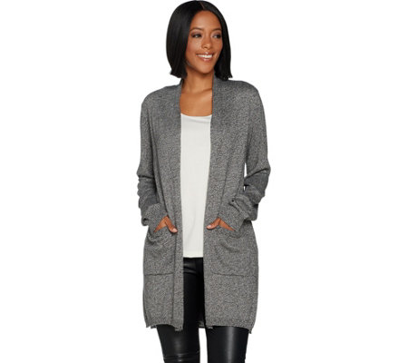 Lisa Rinna Collection Marled Open Front Cardigan