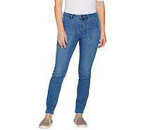 LOGO by Lori Goldstein Regular Skinny Leg Ankle Jeans with Pockets - A300754