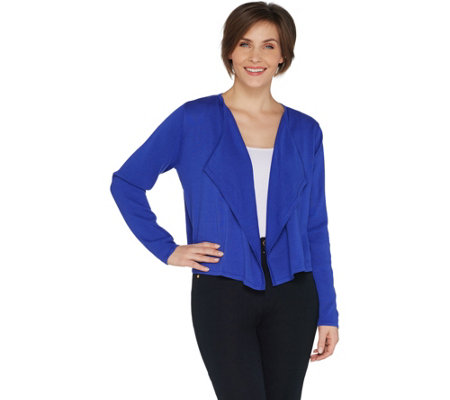 Susan Graver Cotton Rayon Open Front Cropped Cardigan