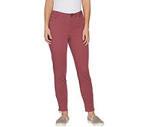 LOGO by Lori Goldstein Petite Stretch Twill Ankle Pant w/ Zip - A302054