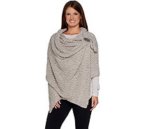 Giving Shawl Cozy Shawl with Pockets & Decorative Pin - A303154