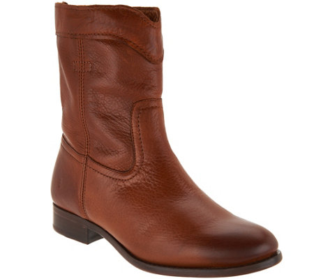 Frye Leather Pull On Ankle Boots - Cara Roper Short