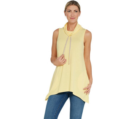LOGO Lounge by Lori Goldstein French Terry Cowl Neck Tank