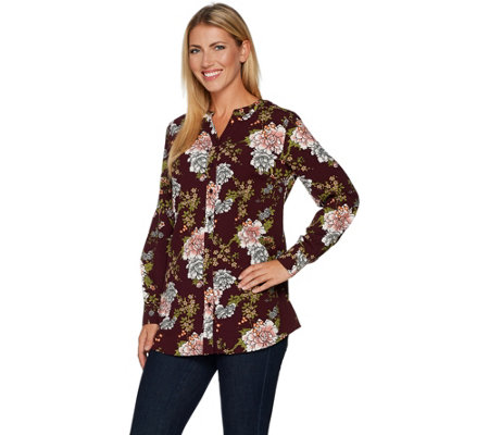 """As Is"" Denim & Co. Regular Floral Printed Button Front Blouse"