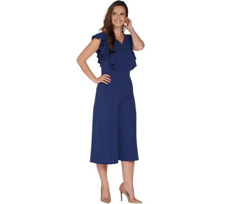 Du Jour Petite V-Neck Culotte Knit Jumpsuit with Ruffle