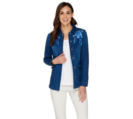 """As Is"" Isaac Mizrahi Live! TRUE DENIM Embroidered Jacket"
