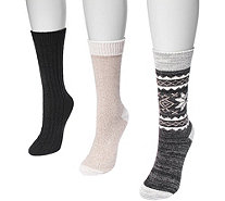 MUK LUKS Women's Three-Pair Pack Boot Socks - A361454