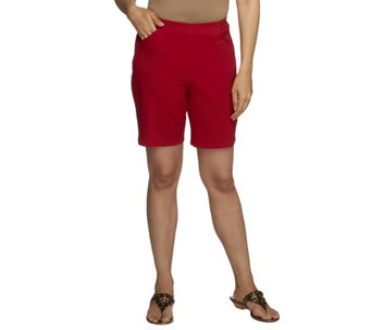 "Denim & Co. ""How Timeless"" Stretch Pull-on Shorts w/Front Pockets - A50254"