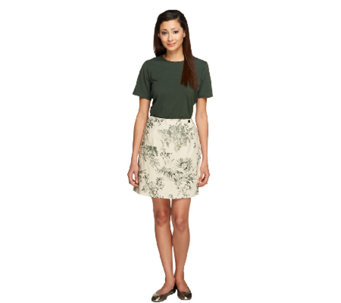 Denim & Co. Stretch T-shirt and Stretch Classic Waist Printed Skort - A10855