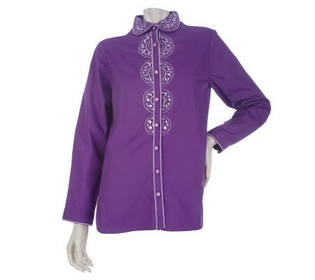 Bob Mackie's Heart of My Heart Embroidered and Jeweled Shirt