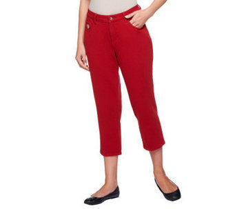 Quacker Factory DreamJeannes Knit Denim Crop Pants - A214655