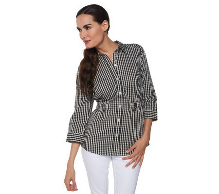 Liz Claiborne New York 3/4 Sleeve Gingham Tunic w/Waist Detail