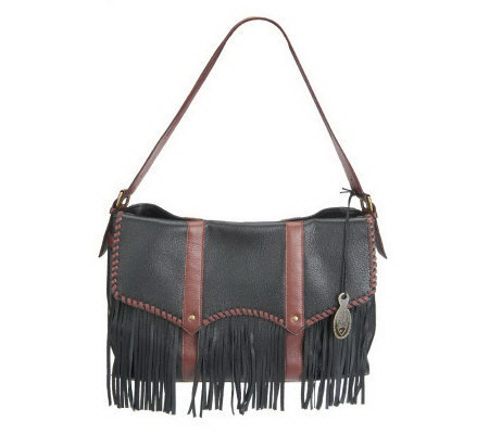 Muxo by Camila Alves Leather Messenger with Fringe
