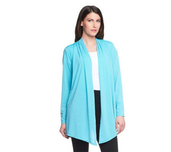 Linea by Louis Dell'Olio Feather Jersey Open Front Cardigan - A233955