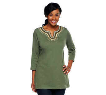 Denim & Co. Knit Gauze Embroidered 3/4 Sleeve Tunic - A234555