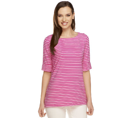 Susan Graver Weekend Stretch Cotton Bateau Neck Top