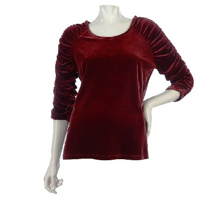 """As Is"" Susan Graver Stretch Velvet U-neck Top with Ruched 3/4 Sleeves"