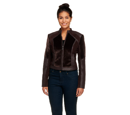 G.I.L.I. Faux Calf Hair, Leather, and Suede Zip Front Jacket