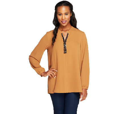 Susan Graver Woven Top w/ Embellished Split V-Neck
