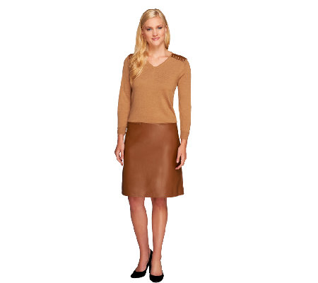 Dennis Basso Knit and Faux Leather V-Neck Dress