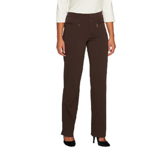 Isaac Mizrahi Live! Regular Ponte Knit Straight Pants - A258755